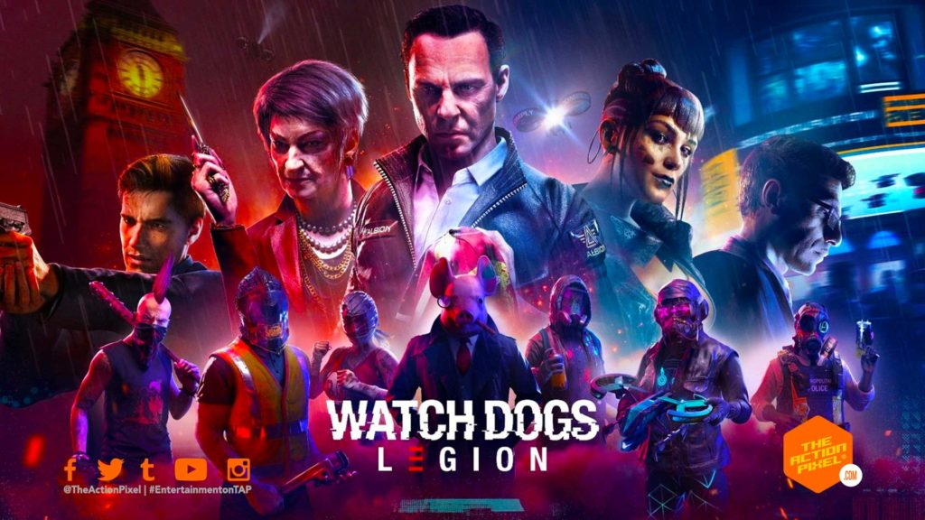 watch dogs: Legion, watch dogs, legion, london, the action pixel, ubisoft, entertainment on tap, the action pixel, featured, open-world, future, fight, rebel, Rebellion, Resistance, Resist, E3, Gamescom, 2019, milices, war, Recruit, Action, RPG, Game, Ubisoft, Stealth, Hack, Hacker, hacking, Phone, night, dark, UK, drones, pig, masks, skulls, guns, Sue, Viktor, Alan, Spider-bot, Spiderbot, openworld, bot, Granny, cyberpunk, mask, near future, near-future, umbrella, Brexit, best team,