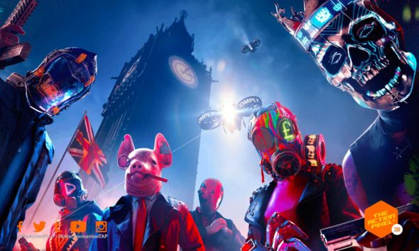 watch dogs: Legion, watch dogs, legion, london, the action pixel, ubisoft, entertainment on tap, the action pixel, featured, open-world, future, fight, rebel, Rebellion, Resistance, Resist, E3, Gamescom, 2019, milices, war, Recruit, Action, RPG, Game, Ubisoft, Stealth, Hack, Hacker, hacking, Phone, night, dark, UK, drones, pig, masks, skulls, guns, Sue, Viktor, Alan, Spider-bot, Spiderbot, openworld, bot, Granny, cyberpunk, mask, near future, near-future, umbrella, Brexit, best team,