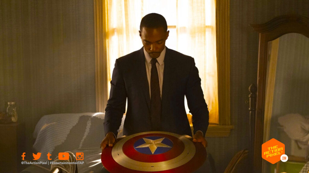 sam wilson, captain america, captain america shield, captain america 4, marvel studios, the falcon, marvel captain america, captain america sam wilson, the falcon and the winter soldier, entertainment on tap, the action pixel